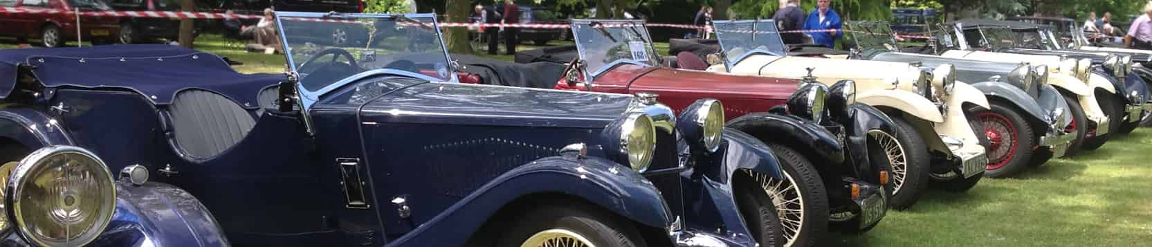 Vintage and Classic Cars in row